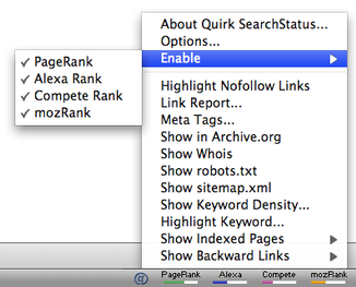 L'extension Quirk Search Status