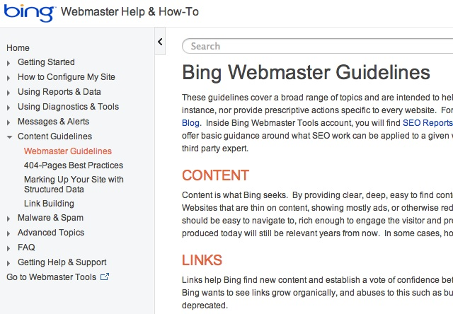 Bing webmaster guideline
