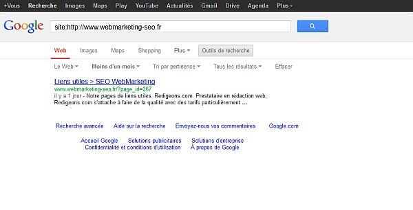 Les urls indexées par Google