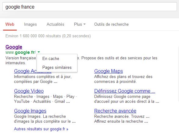 Le nouveau menu déroulant - Google