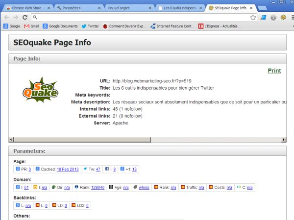 SEO Quake Chrome