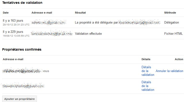 Validation des webmaster Tools