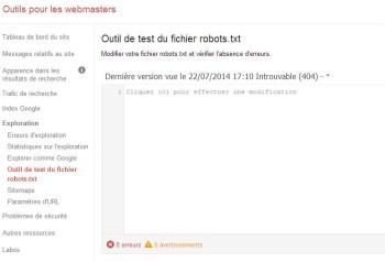 tester son fichier robots.txt dans google Webmaster Tools