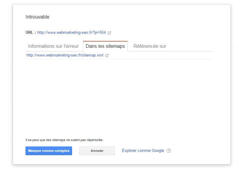 Source erreur dans search Console